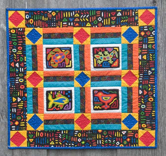 Mola Madness punchneedle pattern from the book Fresh and Fun Punchneedle by Christine Baker, Fairfield Road Designs.