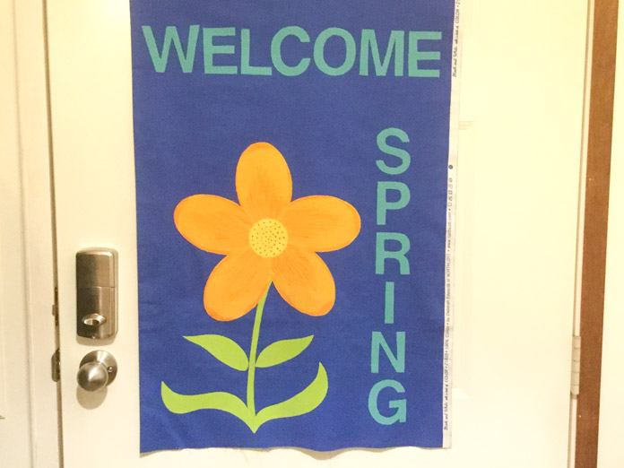 My banner says WELCOME SPRING. Use your favorite words for your banner.