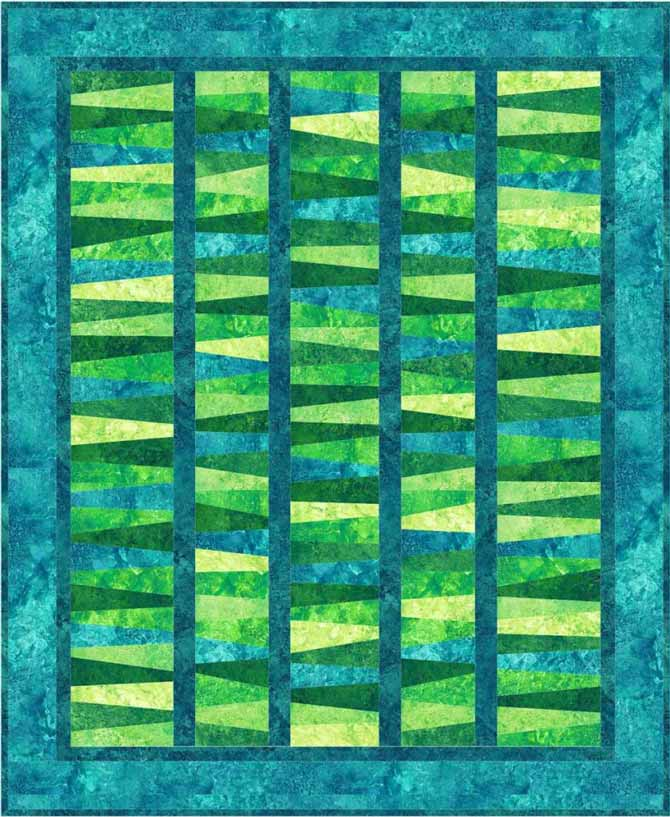 Jean Boyd's Wonky Strips quilt with sashing was made using Northcott Stonehenge Brights in Rainforest and Lagoon colorways.