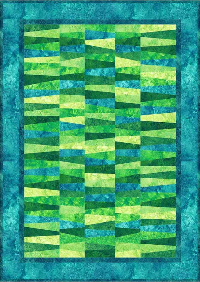 Another Wonky Strips quilt without sashing makes for an even more mesmerizing look. Northcott Stonehenge Brights in Rainforest and Lagoon colorways.