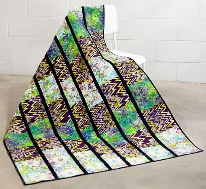 Zig Zag quilt made with Ikat Sketch Banyan Batiks by Northcott