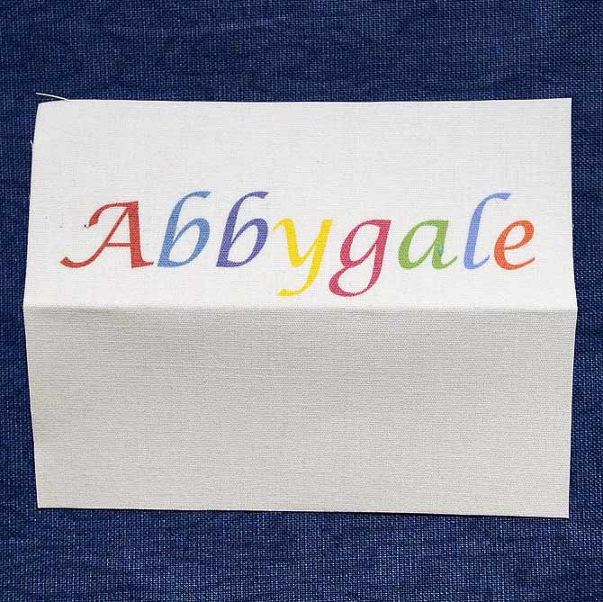 Name on printable fabric