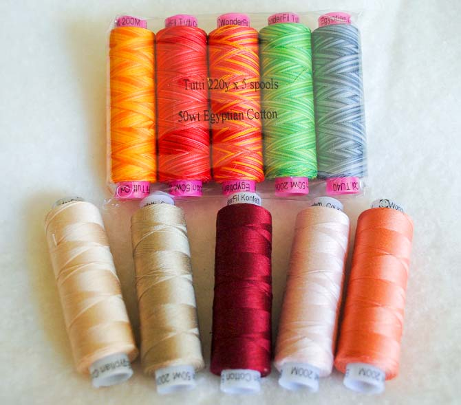 Sample packs of Tutti and Konfetti threads from WonderFil