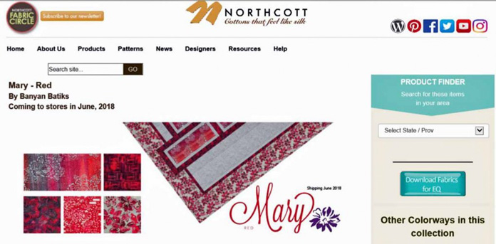 Click on Northcott's Fabric Circle link for more information about their great fabrics.