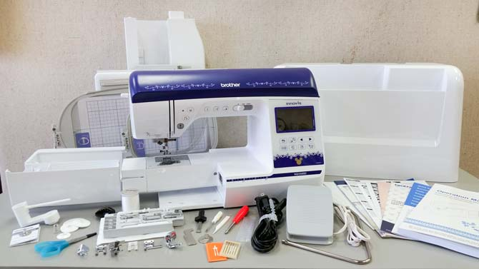 Brother NQ3500D sewing machine and accessories