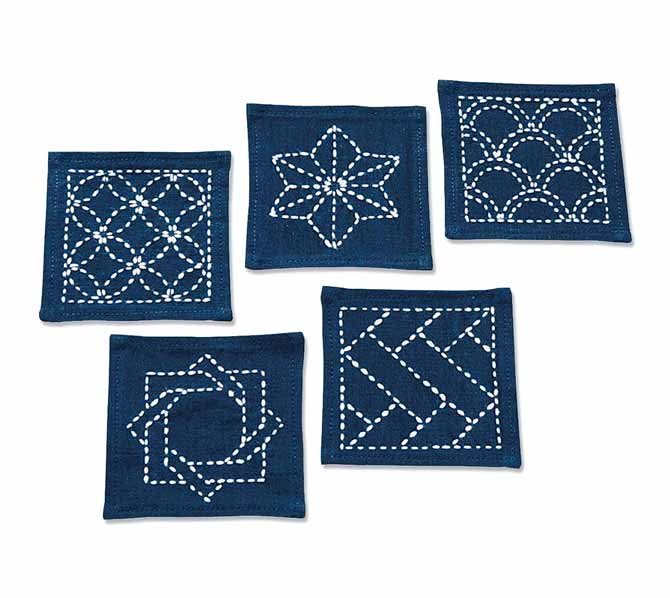 Here are five different Sashiko designs