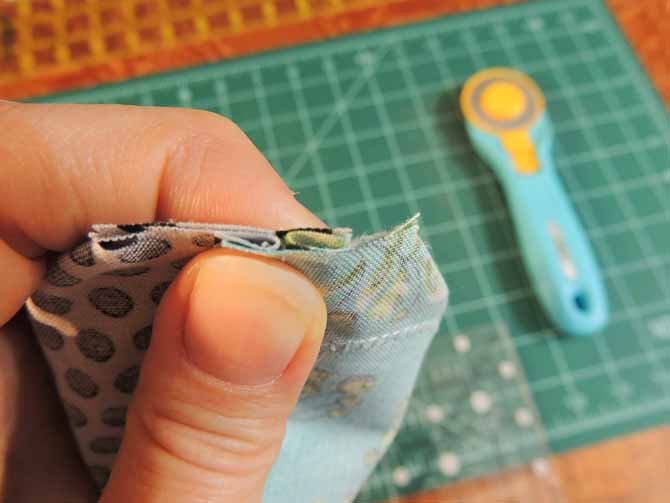 nest seams along straight edge to sew corners