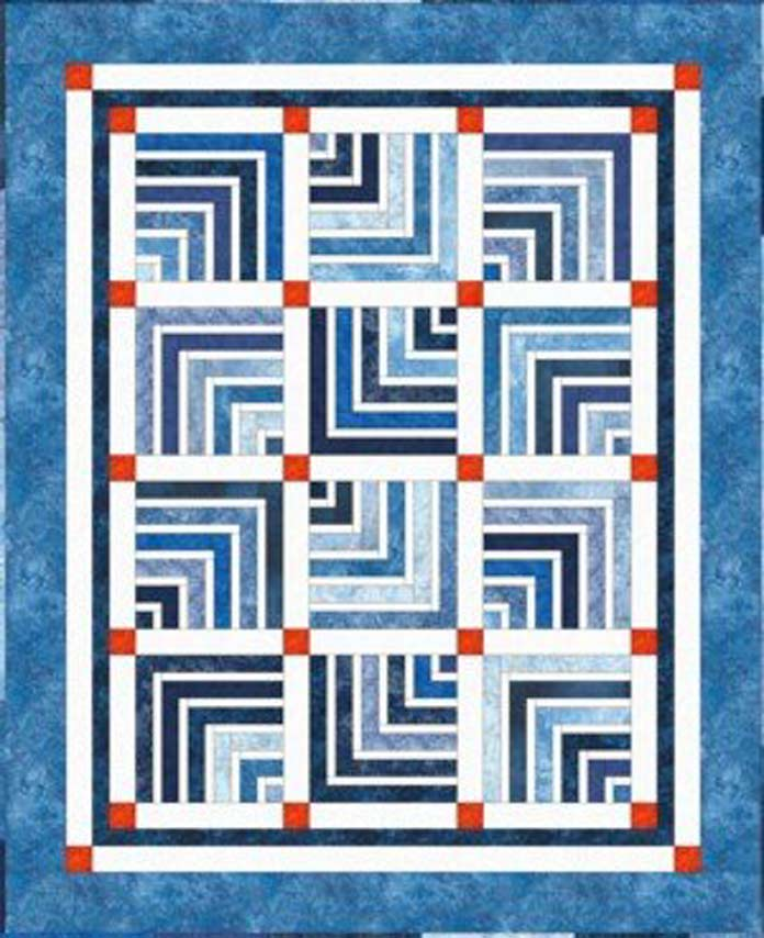 "The Opposites Attract quilt pattern by Fairfield Road Designs was made using one ""Stone Roll"" from Northcott and three additional fabrics for the sashing and borders."