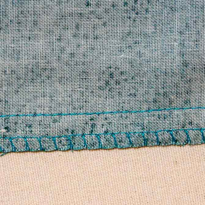 Over locking stitch on the edge
