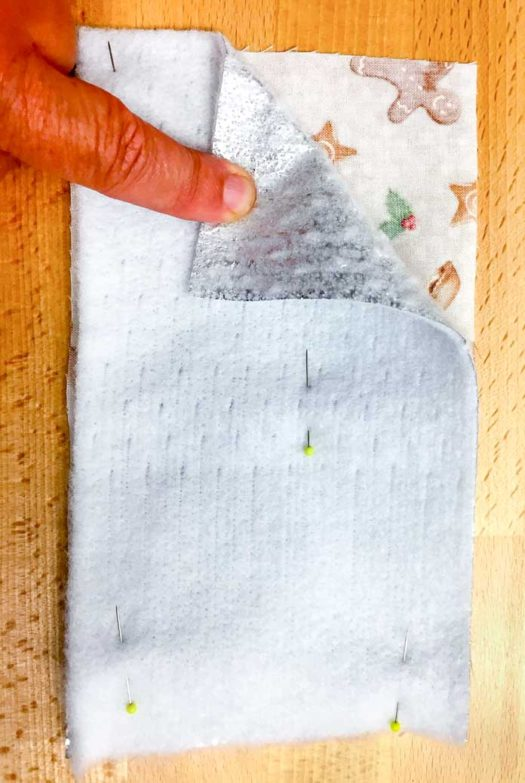 Pinning Therm Fleece to the wrong side of the fabric