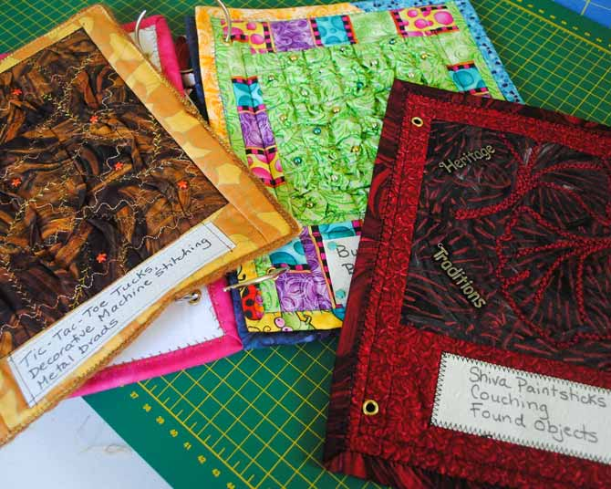 Pages from the fabric embellishment sample book.