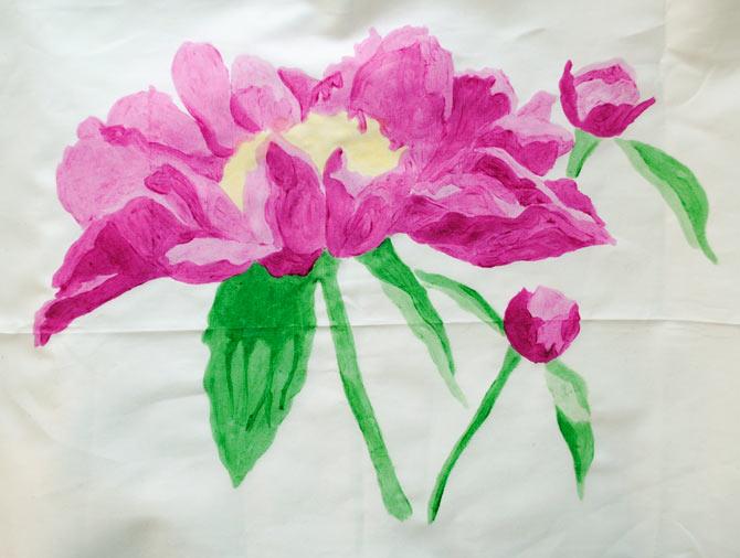 Peony painted with Tsukineko Inks