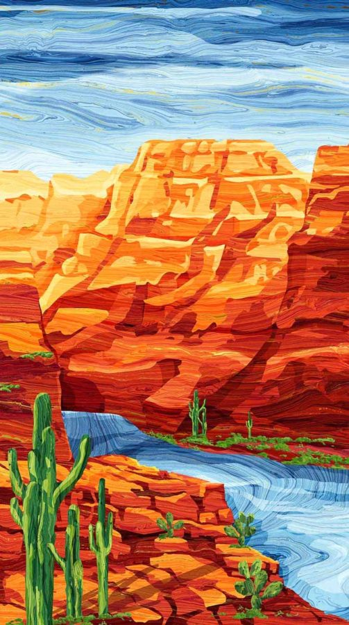 "Canyon Cliffs panel from Northcott 24"" x 42"""