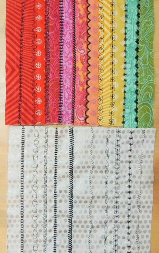 The rainbow colored stitch samplers from the PFAFF passport 3.0 sewing machine.