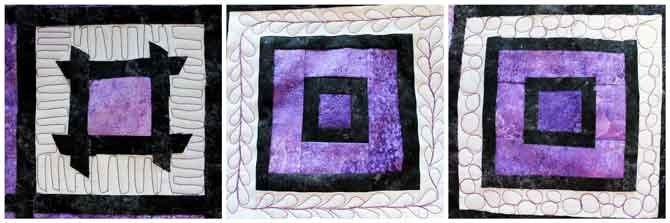 Three quilt blocks with free motion quilting