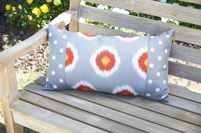 Rectangle Cushion with front panel - dressing up your patio has never been this easy and quick using Coats Outdoor Thread
