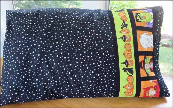 Halloween pillowcase made with Northcott's Happy Halloween fabric. So much fun!