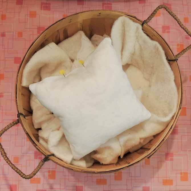 fill the pillow form with stuffing or leftover batting bits