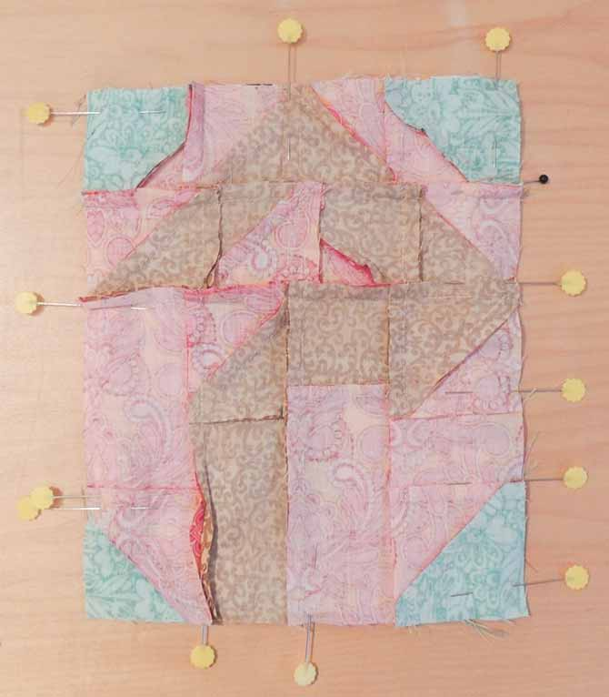 Pin layers together for quilting