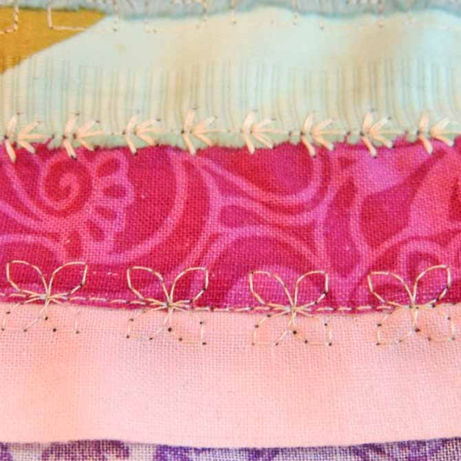 Pink selvage seam stitched