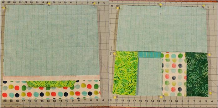 Pinning top back panel and bottom back panel.