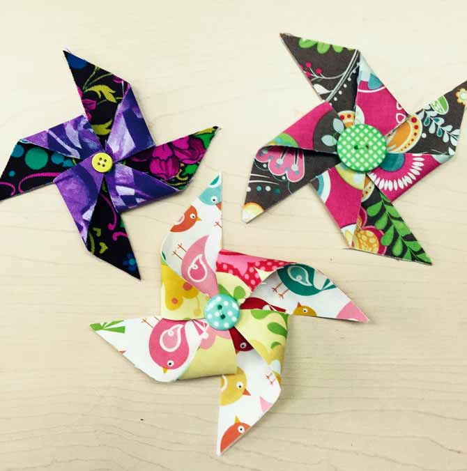 Fabric pinwheels for quilts.