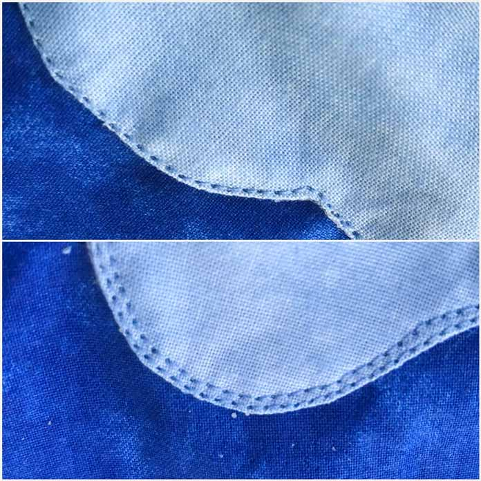 Adding a second stitch line to add interest to your applique piece is another option.