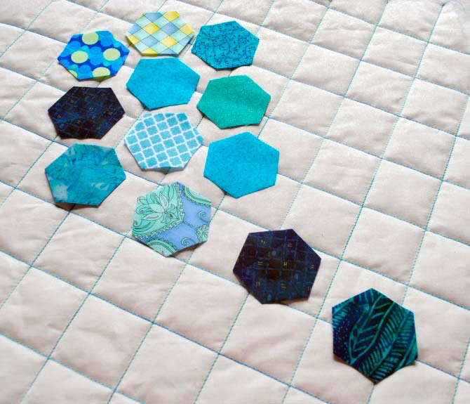 Placement version #2 - most of hexagons lined up in one corner of pillow top.