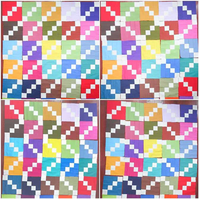 The quilt blocks are arranged in four different layouts to show some different possibilities for using the block.