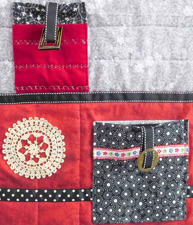Loops and buckles are sewn to the inside of the pockets. Make sure everything is attached securely.