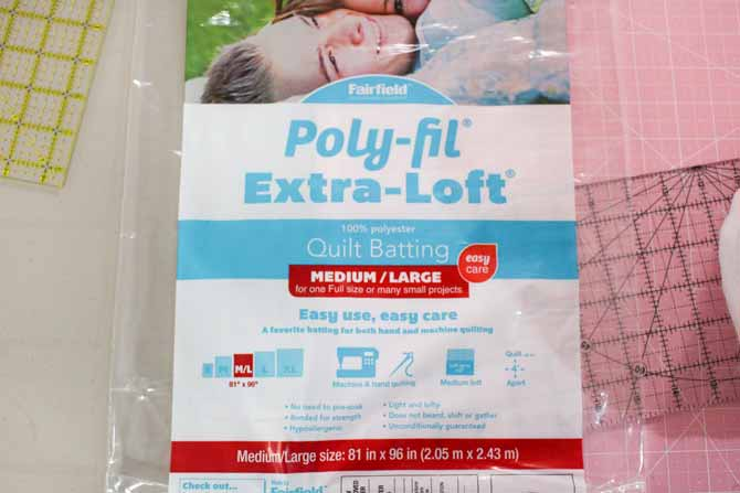 A package of one of many sizes available of Fairfield Poly-Fil Extra-Loft batting