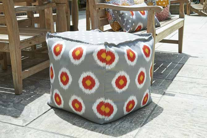 The cube is a versatile decor accent for indoors and out. Use Coats Outdoor Thread if making it for your patio space.