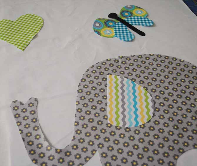 Positioning the shapes on the background fabric