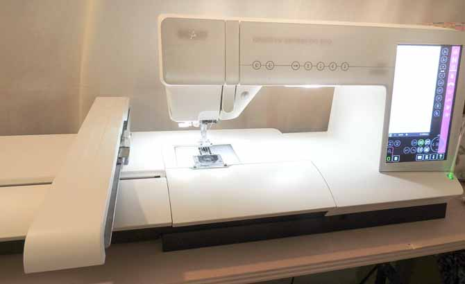 PFAFF creative sensation pro with the embroidery unit attached