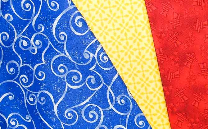Example of primary color fabrics.