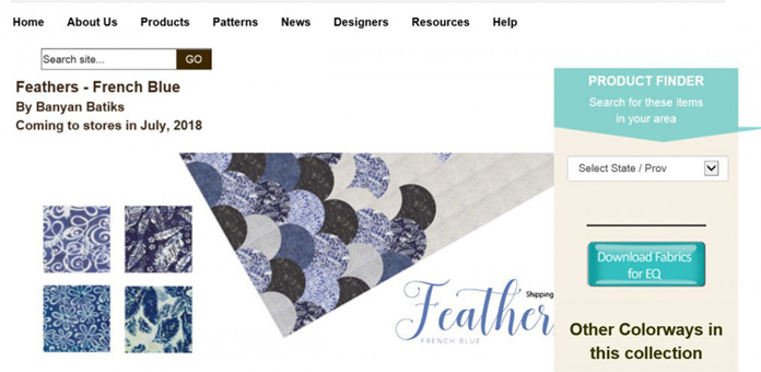 Use the Product Finder button on the Northcott website to locate your favorite fabrics.