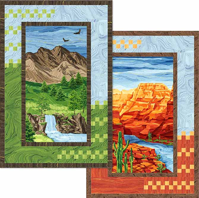Canyon Sunrise/Mountain Sunset by Wanda Milankov with panels and co-ordinating fabrics from Northcott's Sandscapes collection