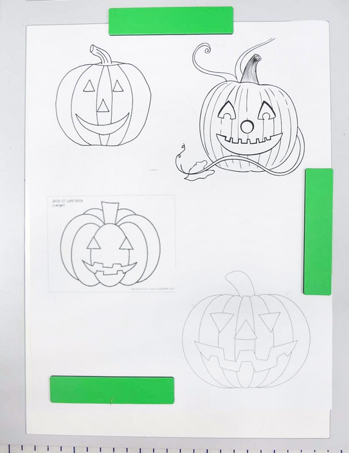 Jack-o-lantern designs from coloring book pages downloaded from the internet