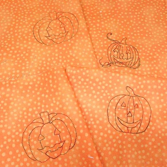 Embroidered pumpkin designs stitched out by THE Dream Machine 2
