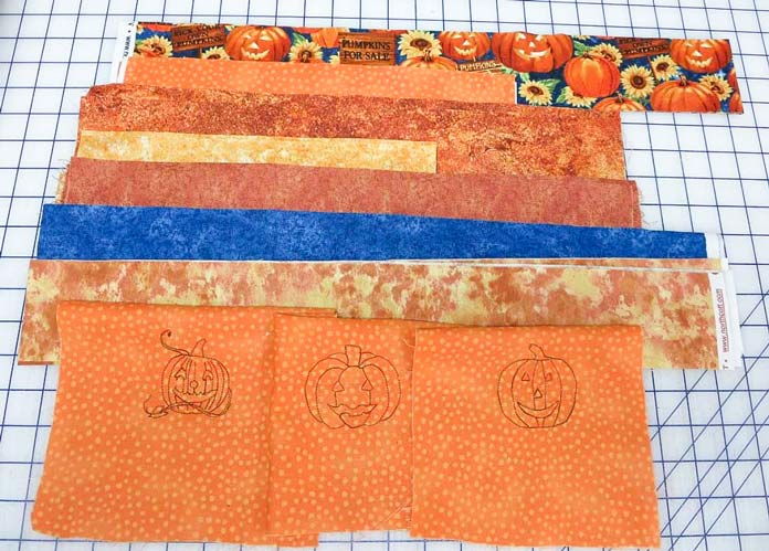 Machine embroidered pumpkins and coordinating fabric