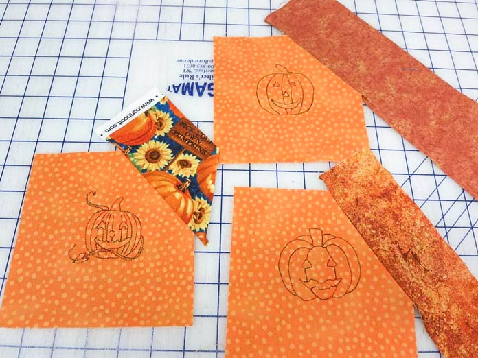"Sew a 3"" strip on one side of each embroidered square."