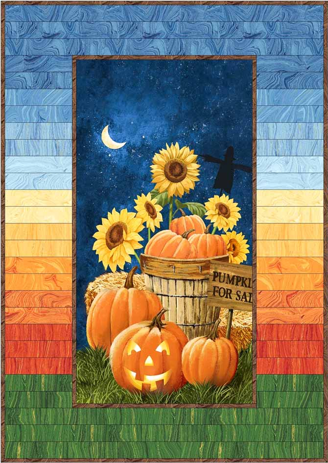 Pumpkins for Sale panel with a pieced Sandscapes border. Fabrics by Northcott