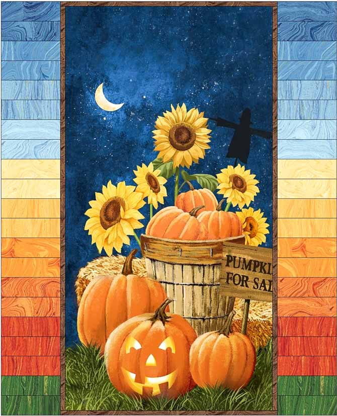 Pumpkins for Sale panel quilt with Sandscapes side borders