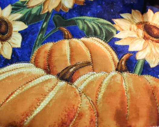 Quilted with WonderFil's 12wt Accent thread, #2118 Sunny Yellow and 2121 Dark Gold