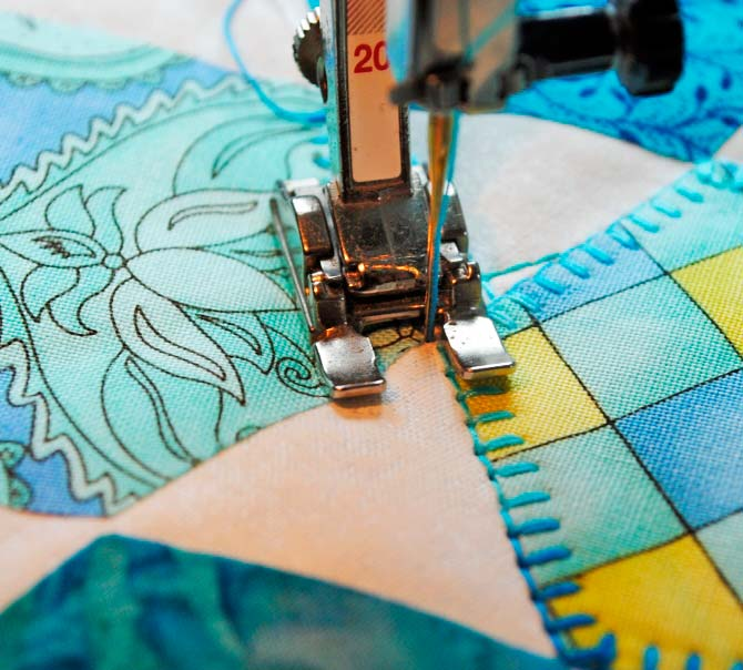 Designing with Hexagons, Threads and the Blanket Stitch! - QUILTsocial