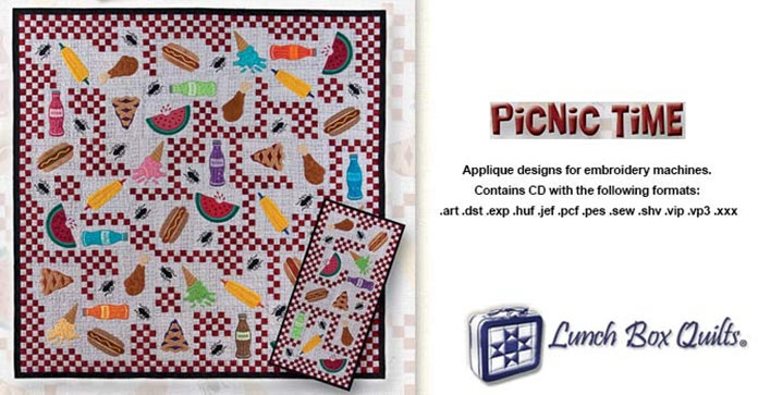 Lunch Box Quilts - Picnic Time (with CD) applique designs for embroidery machines