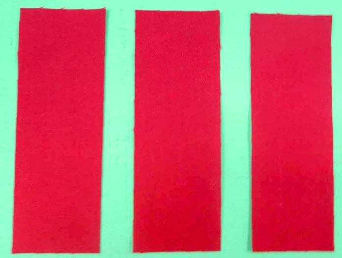 "Cut 3 – 1½"" x 4"" strips of fabric."
