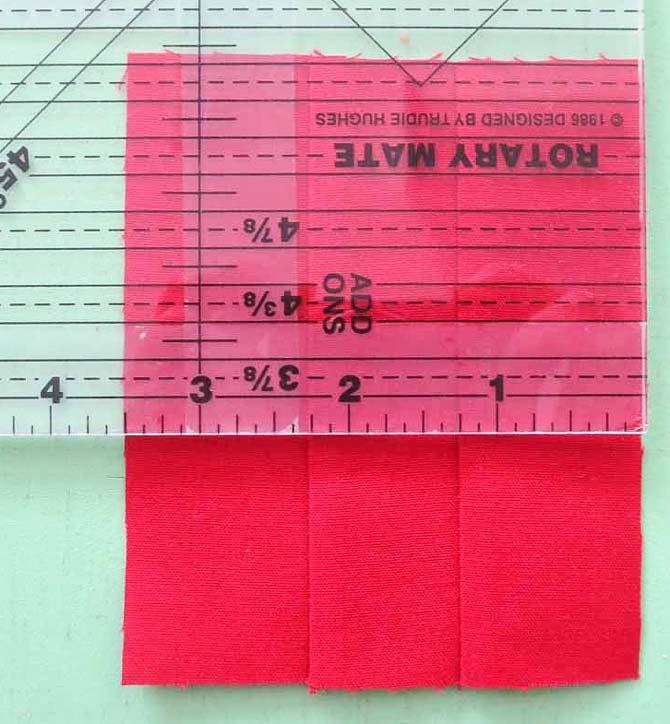 """Measure across the center of the sewn strips. It should be 3½"""". If it isn't, you need to adjust the seam allowance."""