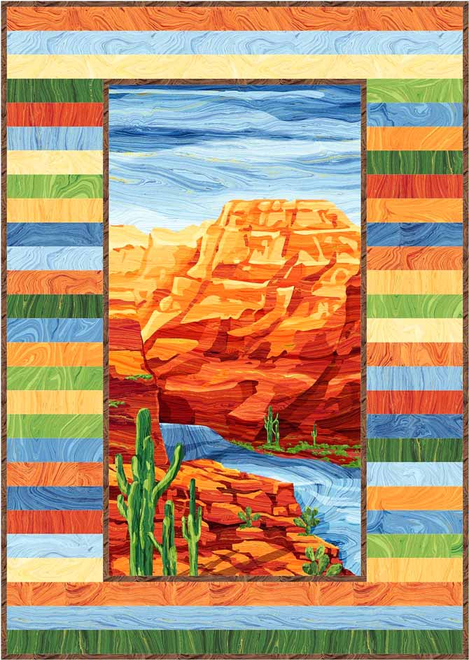 Electric Quilt image of my Canyon Cliffs quilt using Northcott's Sandscapes fabrics and the Canyon Cliffs panel