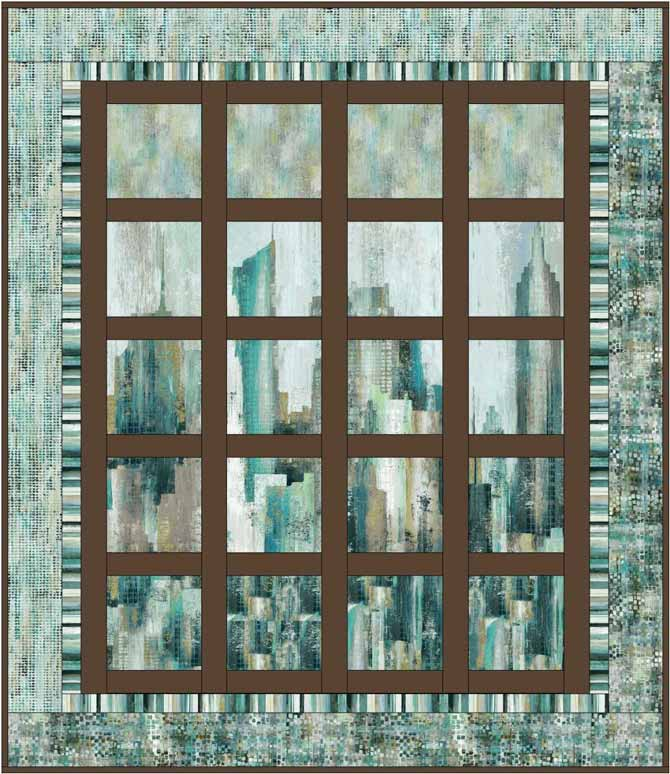 One version of a quilt design created in EQ using Northcott's City Scene panel.